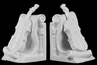 UTC32643-AST Ceramic Cello Bookend on Scroll Base Assortment of Two Distressed Coated Finish White
