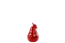 UTC32801 Ceramic Pear Figurine with Stem and Leaf MD Dimpled Gloss Finish Red