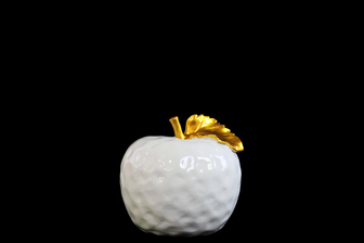 UTC32807 Ceramic Apple Figurine with Stem and Golden Leaf MD Dimpled Gloss Finish White