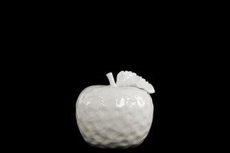 UTC32808 Ceramic Apple Figurine with Stem and Leaf MD Dimpled Gloss Finish White