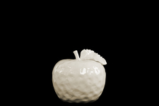 UTC32809 Ceramic Apple Figurine with Stem and Leaf MD Dimpled Gloss Finish Cream