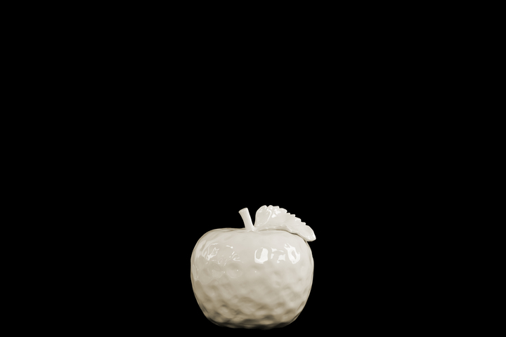 UTC32819 Ceramic Apple Figurine with Stem and Leaf SM Dimpled Gloss Finish Cream