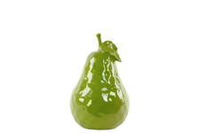 UTC32839 Ceramic Pear Figurine with Stem and Leaf MD Dimpled Gloss Finish Green