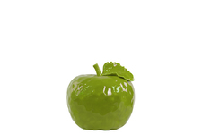 UTC32840 Ceramic Apple Figurine with Stem and Leaf SM Dimpled Gloss Finish Green