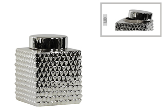 UTC32852 Ceramic Short Square 100 oz. Canister with Round Lid and Embossed Polygonal Design SM Polished Chrome Finish Silver