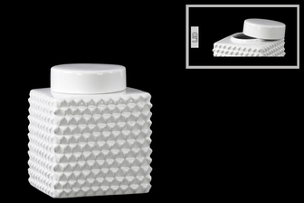 UTC32854 Ceramic Short Square 100 oz. Canister with Round Lid and Embossed Polygonal Design SM Gloss Finish White