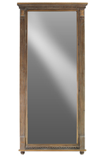 UTC33107 Wood Rectangular Wall Mirror with Tabernacle Design Frame Natural Wood Finish Beige