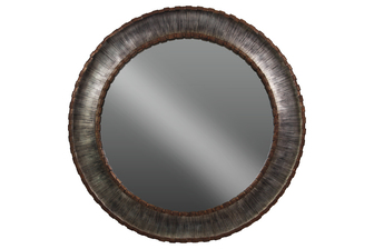 UTC33109 Metal Round Wall Mirror with Sunburst Design Frame Brushed Finish Silver