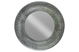 UTC33114 Metal Round Wall Mirror with Leaf Pattern Frame Metallic Finish Gunmetal Gray