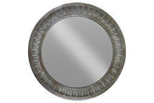 UTC33115 Metal Round Wall Mirror with Convex Pattern Frame Metallic Finish Gunmetal Gray