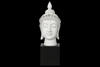 UTC33402 Resin Buddha Head with Pointed Ushnisha and Floral Head Gear on Base Gloss Finish White