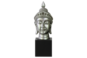 UTC33403 Resin Buddha Head with Pointed Ushnisha and Floral Head Gear on Base Gloss Finish Silver