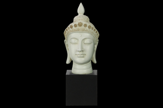 UTC33404 Resin Buddha Head with Pointed Ushnisha and Floral Head Gear on Base Gloss Finish Cream