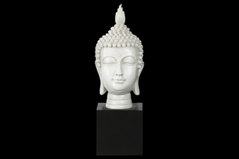 UTC33405 Resin Buddha Head with Pointed Ushnisha on Base Gloss Finish White