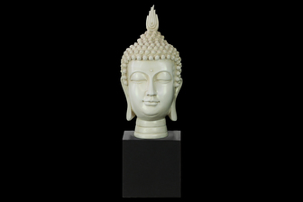 UTC33407 Resin Buddha Head with Pointed Ushnisha on Base Gloss Finish Cream
