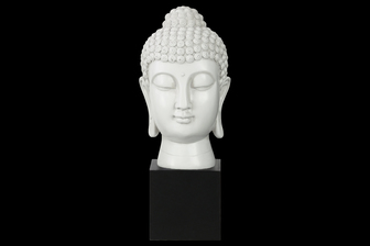 UTC33408 Resin Buddha Head with Bun Ushnisha on Base Gloss Finish White