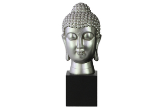 UTC33409 Resin Buddha Head with Bun Ushnisha on Base Gloss Finish Silver