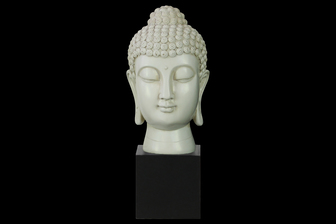 UTC33410 Resin Buddha Head with Bun Ushnisha on Base Gloss Finish Cream