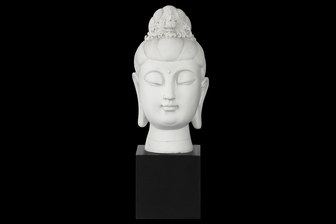 UTC33411 Resin Buddha Head with Floral Ushnisha on Base Gloss Finish White