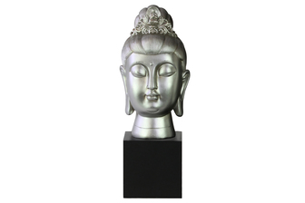 UTC33412 Resin Buddha Head with Floral Ushnisha on Base Gloss Finish Silver
