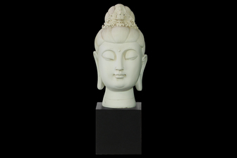 UTC33413 Resin Buddha Head with Floral Ushnisha on Base Gloss Finish Cream