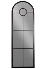 UTC34088 Metal Window Pane Wall Mirror Metallic Finish Black