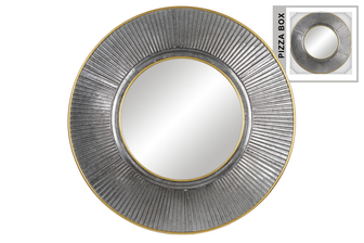 UTC34091 Metal Round Wall Mirror with Ribbed Sunburst Pattern Frame Design and Painted Gold Edges Galvanized Finish Gray