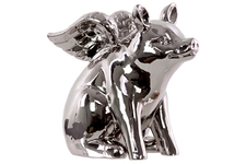 UTC34237 Ceramic Sitting Winged Pig Figurine Polished Chrome Finish Silver