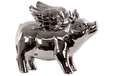 UTC34238 Ceramic Standing Winged Pig Figurine Polished Chrome Finish Silver