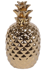 UTC34250 Ceramic Pineapple Figurine with Patterned Design Body Polished Chrome Finish Gold