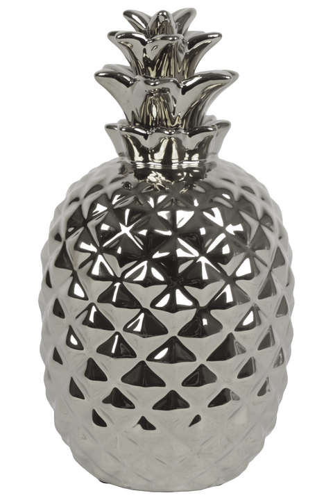 UTC34251 Ceramic Pineapple Figurine with Patterned Design Body Polished Chrome Finish Silver
