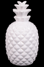 UTC34252 Ceramic Pineapple Figurine with Patterned Design Body Gloss Finish White