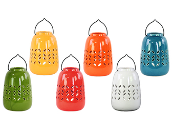 UTC34432-AST Ceramic Cylindrical Tea Light Lantern with Metal Handle Assortment of Six LG Gloss Finish Assorted Color (Yellow Green, Red, Orange, Amber, White and Teal)