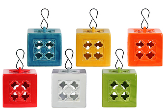 UTC34434-AST Ceramic Square Tea Light Lantern with Metal Hook Assortment of Six LG Gloss Finish Assorted Color (Yellow Green, Red, Orange, Amber, White and Teal)