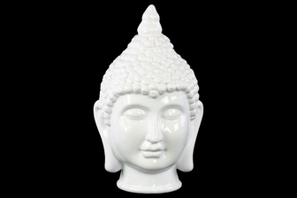 UTC34436 Ceramic Buddha Head with Pointed Ushnisha Gloss Finish White