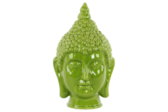 UTC34438 Ceramic Buddha Head with Pointed Ushnisha Gloss Finish Green