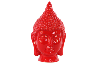 UTC34439 Ceramic Buddha Head with Pointed Ushnisha Gloss Finish Red