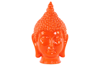 UTC34440 Ceramic Buddha Head with Pointed Ushnisha Gloss Finish Orange
