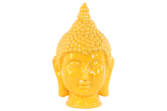 UTC34441 Ceramic Buddha Head with Pointed Ushnisha Gloss Finish Yellow