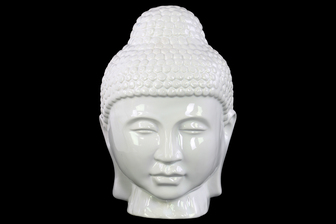 UTC34442 Ceramic Buddha Head with Rounded Ushnisha Gloss Finish White