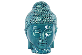 UTC34443 Ceramic Buddha Head with Rounded Ushnisha Gloss Finish Turquoise