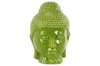 UTC34444 Ceramic Buddha Head with Rounded Ushnisha Gloss Finish Green