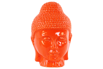 UTC34446 Ceramic Buddha Head with Rounded Ushnisha Gloss Finish Orange