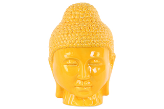 UTC34447 Ceramic Buddha Head with Rounded Ushnisha Gloss Finish Yellow