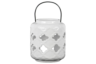 UTC34462 Ceramic Lantern with Quatrefoil Cutout Design with Metal Handle Gloss Finish White