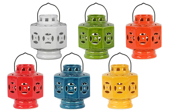 UTC34467-AST Ceramic Octagonal Tea Light Lantern with Metal Handle Assortment of Six Gloss Finish Assorted Color (White, Turquoise, Green, Red, Yellow and Orange)