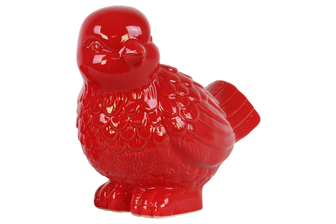 UTC34475 Ceramic Bird Figurine Looking Left Gloss Finish Red