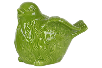 UTC34478 Ceramic Bird Figurine with Wings Up LG Gloss Finish Green