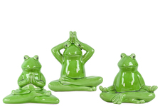 UTC34498-AST Ceramic Meditating Sitting Frog Figurine Assortment of Three Distressed Gloss Finish Green