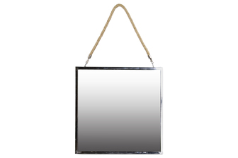 UTC34500 Stainless Steel Square Mirror with Rope Hanger LG Polished Chrome Finish Silver